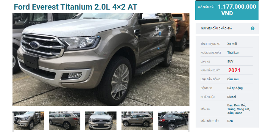 Ford Everest Titanium 4x2 AT 2021 Một Cầu